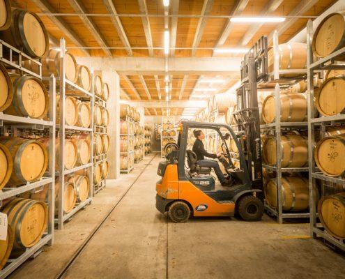 Stacking barrels using PS1 Barrel Racks Made in New Zealand